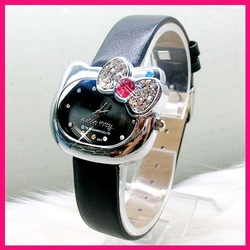 Free Shipping Black Leather Band Hello Kitty Watch ,Bow Tie Crystal Watch #KITTY006-BK(China (Mainland))