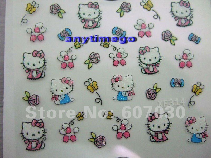 Freeshipping-NEW 3D nail sticker Decal Hello Kitty designs Nail Stickers Nail Art Decoration Wholesales(China (Mainland))