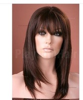 Long Straight Mono Human Hair Wig Brown Black