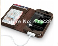 free shipping leather  wallet shape also phone case for apple iphone 4/iphone 4S leather case