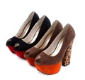 Free shipping wholesale and retail thick LEOPARD high-heel platform Pump wedges sandals suede shoes brown black #MZ.1048-6