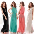 2013 New Women Bohenmia Pleated Wave Lace Strap Princess Chiffon Maxi long dress Four Colors Hot Sell FREE SHIPPING 3694