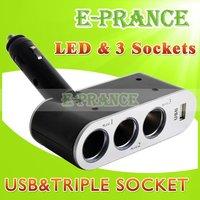 New 2014 90 Degree Adjustable 3 Way 24V Car Charger Cigarette Lighter Socket Splitter With USB Port + 3 Socket Free Shipping