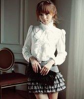 2012 New Free Shipping Korea Women Shirt Fashion Shirts Ladies Shirt OL Dress Shirts Black/White Bubble Sleeve Blouse