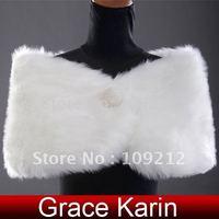 Free Shipping 1pcs/lot Wholesale GK Faux Fur Wedding Bridal Wrap Shawl Stole Bolero Shrug Scarf Jackets CL2616