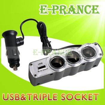 3 Way Car Cigarette Lighter Socket Splitter 12V Charger Power Adapter Plug DC 12V Triple Socket USB