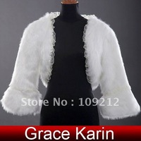 Free Shipping 1pcs/lot GK Ivory Faux Fur Wedding Accessories Bridal Wrap Shawl Jacket Coat Bolero CL2624