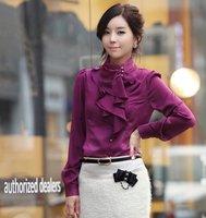 2012 New Free Shipping Wholesale Korea Women Shirt Long Sleeve Ladies Shirt OL Dress Shirts Blouses Outdoor Clothing