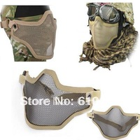 Mask Metal Steel Wire Half Face Mesh  Mask  tan free ship