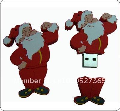 Top selling gifts ~ Santa Claus 2GB Usb Flash Drive Cute PVC Usb Flash Sticks(China (Mainland))