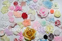 500pcs Mixed 3D Soft Ceramic Flower For Nail Art Decoration