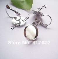 """$15 off per $150 order"" Freeshipping !!! 200pcs/lot  12mm Silver Plated  Pad French Earing Blank Tray  Base NICKEL Lead  FREE"