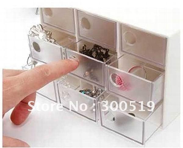 Fashion Simple Cosmetics Box Nine Drawer jewel case Storage box Free Sample