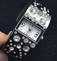 10pcs/lot Black Bangle Bracelet Wrist Fashion Women Rhinestone Watches Jewelry Dress Quartz Watch