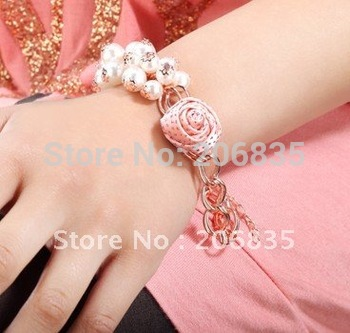 Women/girl Bangle South Korean Gold plated pearl Flower shiny Bracelet rose Bange C
