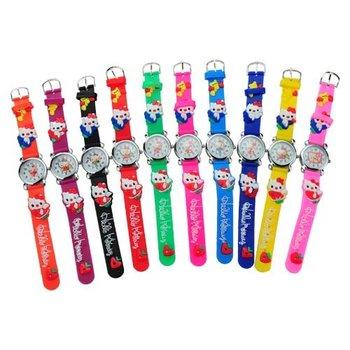 Free Shipping 10Pcs/lot Hello Kitty Watch Round Dial Silicone Band Quartz Movement Wrist Watch Kids Watch