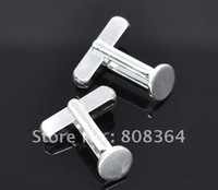 Free Shipping 10 Silver Plated Flat Square Cuff links 19x18mm Father&amp;#39;s Day Valentines Day Gift(W01530 X 1)