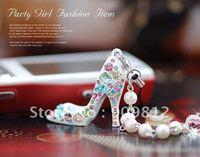 Free Shipping Diamond pearl high heels Phone Chain, Mobile phone pendant, Phone chain, Black / white 18g 10pcs/lot