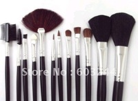 Free shipping 5 Sets Makeup Brush 12pcs set Make Up Brush Make-up Brushes Brush Set In Nice Leather Bag