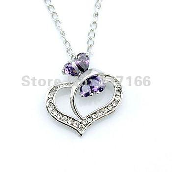 Free Shipping Copper Sapphire Blue Zircon Heart Necklace (BCSMT0104)