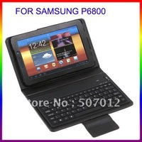 "Wireless Bluetooth Keyboard Leather Case Stand for Samsung Galaxy Tab 7.7"" P6800 P6810,Reatail Box+Free Shipping+Drop Shipping"
