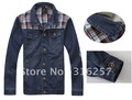 Free shipping Men's Hoodie Jeans Jacket coat outerwear hooded Winter coat hoodie denim jacket coat cowboy jacket  F-1