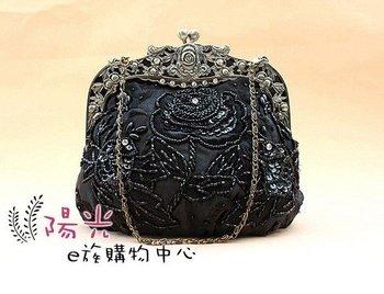 Free Shipping Wholesale Retail black Women's Sequin Beaded Bag Clutch Handbag Wedding/Evening Bag Makeup Bag 2583