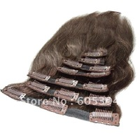 100% human hair extensions  Clip hair extensions 7pieces 90g/pack