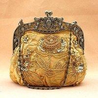 Free Shipping Wholesale Retail Gold Women's Sequin Beaded Bag Clutch Handbag Wedding/Evening Bag Makeup Bag 2583