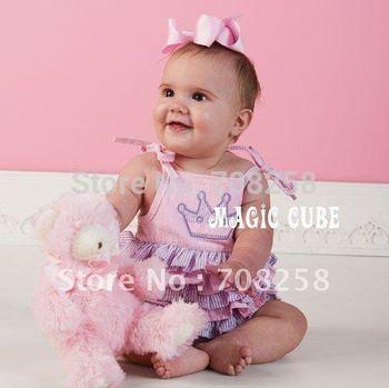 3pcs/lot Baby Girls Striped Pink Cake dress Princess Romper dress,MAGIC CUBE High Fashion kids dress,133#
