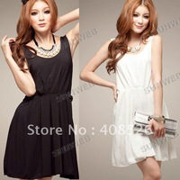 2013 Fashion Women's Lady Short Sleeve High/Low Thigh Hem Tail Maxi Dress Skirt free shipping 3655