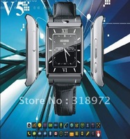100pcs Watch phone V5 Quadband + 1.3M Camera+ Bluetooth +  Touchscreen + MP3/MP4 + Multi languages Phone Free shipping great