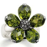 wholesale  and dropshiping sterling silver  green flower    finger ring   hottest sale THSR14