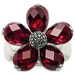 wholesale  and dropshiping sterling silver dark red  flower    finger ring   hottest sale THSR14