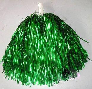 "cheerleading rooter Poms 10"" cheerleader pom poms metallic green color 10pcs (5pairs) stick handle custom color(China (Mainland))"