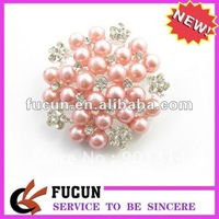 pink pearl rhinestone brooch,45 mm diamater,silver plated,pink pearl with clear crystal,free shipping,100 pcs/lot