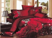 Hot Fashion New  Beautiful 100% Cotton 4pc Doona Duvet QUILT Cover Set bedding set Queen /  King size  Red rose