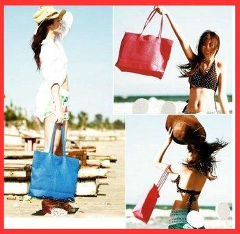Free shipping 2012 New summer 15 candy colors beach handbag Ladies' fashion Straw Hobo bag wholesale