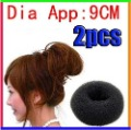 Free Shipping For Ladies&#39; Headwear Tool 2 PCS Big Black Soft Hair Bun Ring Donut Forner Styling Style Design Salon Tool