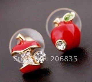 Cute Lovely Apple Stud Earrings rhinestone Apple Earring