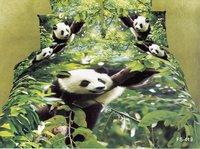 Hot Fashion New  Beautiful 100% Cotton 4pc Doona Duvet QUILT Cover Set bedding set Queen/  King size green Jumping panda