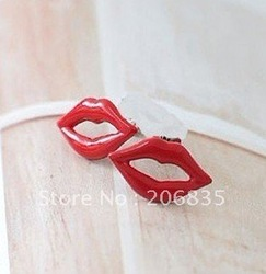 Vintage Retro Fashion Style Red Kiss Lip Earrings Ear Stud Gift .Mini Order Is $10,Can Mix Order(China (Mainland))