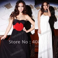 2013 Fashion Women's Lady Short Sleeve High-Low Thigh Hem Tail Maxi Dress Skirt free shipping 3655