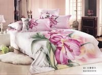 Hot Fashion New  Beautiful 100% Cotton 4pc Doona Duvet QUILT Cover Set bedding set Queen/  King size  BLOOMING LILY