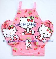 12Set Children Hello kitty Aprons Sleeves Set Free Shipping