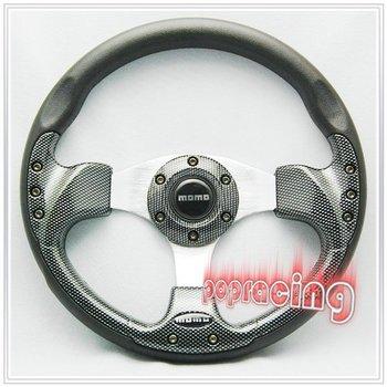 "JDM Type 13"" MOMO Black Fake Carbon Fibre Racing Sport Steering Wheel"