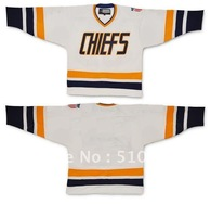 Halloween Costume SHOT movie Charlestown CHIEFS jersey -White  any size  any number any name Mix order custom made  jersey