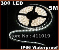Hot sales !! Cold White IP66 Waterproof 5M SMD 3528 300 LED Strip Light 10pcs/lot by EMS