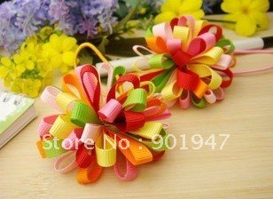 multicolor flower Baby Girls cartoon elastic hair band headbands hair tie kids ponytail holder ribbon