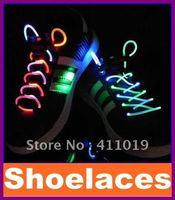 Hot selling~ New promotion LED Light Up Shoe Shoelaces Shoestring Flash Glow Stick Christmas party Xmas Gift 100pcs/lot by EMS